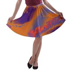 Sky pattern A-line Skater Skirt