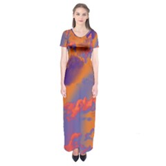 Sky pattern Short Sleeve Maxi Dress