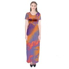 Sky pattern Short Sleeve Maxi Dress