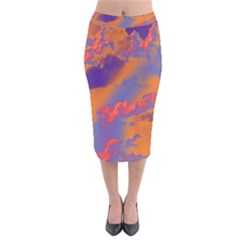 Sky pattern Velvet Midi Pencil Skirt