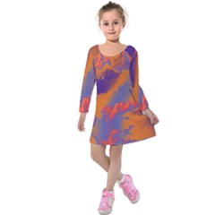 Sky pattern Kids  Long Sleeve Velvet Dress