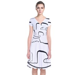 Seal of Indian State of Manipur  Short Sleeve Front Wrap Dress