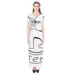 Seal of Indian State of Manipur  Short Sleeve Maxi Dress