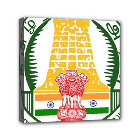 Seal of Indian State of Tamil Nadu  Mini Canvas 6  x 6