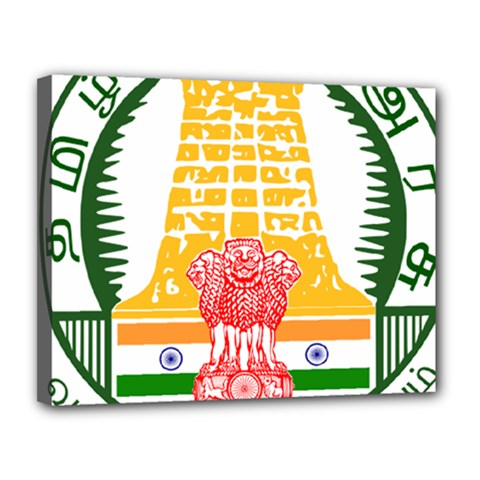 Seal of Indian State of Tamil Nadu  Canvas 14  x 11