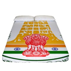 Seal of Indian State of Tamil Nadu  Fitted Sheet (Queen Size)