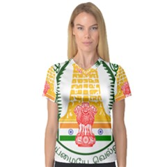 Seal of Indian State of Tamil Nadu  Women s V-Neck Sport Mesh Tee