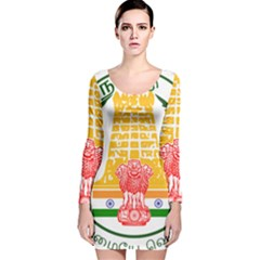 Seal of Indian State of Tamil Nadu  Long Sleeve Velvet Bodycon Dress