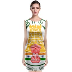Seal of Indian State of Tamil Nadu  Sleeveless Velvet Midi Dress
