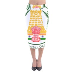 Seal of Indian State of Tamil Nadu  Velvet Midi Pencil Skirt