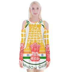 Seal of Indian State of Tamil Nadu  Velvet Long Sleeve Shoulder Cutout Dress