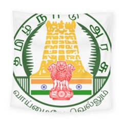 Seal of Indian State of Tamil Nadu  Square Tapestry (Large)