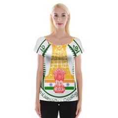 Seal of Indian State of Tamil Nadu  Women s Cap Sleeve Top