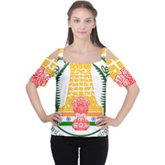 Seal of Indian State of Tamil Nadu  Women s Cutout Shoulder Tee