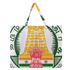 Seal of Indian State of Tamil Nadu  Zipper Large Tote Bag