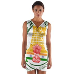 Seal of Indian State of Tamil Nadu  Wrap Front Bodycon Dress