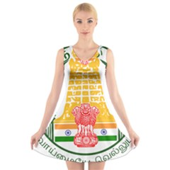 Seal of Indian State of Tamil Nadu  V-Neck Sleeveless Skater Dress
