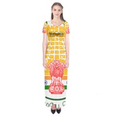 Seal of Indian State of Tamil Nadu  Short Sleeve Maxi Dress