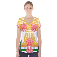 Seal of Indian State of Tamil Nadu  Short Sleeve Front Detail Top