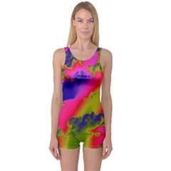 Sky pattern One Piece Boyleg Swimsuit