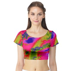 Sky pattern Short Sleeve Crop Top (Tight Fit)