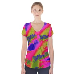 Sky pattern Short Sleeve Front Detail Top