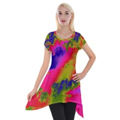Sky pattern Short Sleeve Side Drop Tunic
