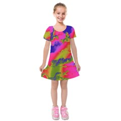 Sky pattern Kids  Short Sleeve Velvet Dress
