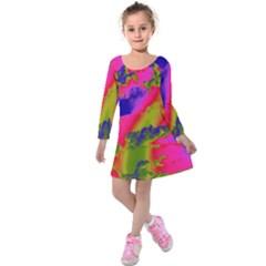 Sky pattern Kids  Long Sleeve Velvet Dress