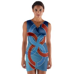 Svadebnik Symbol Slave Patterns Wrap Front Bodycon Dress