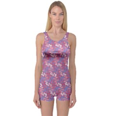 Pattern Abstract Squiggles Gliftex One Piece Boyleg Swimsuit