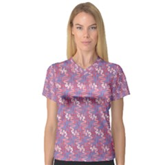 Pattern Abstract Squiggles Gliftex Women s V-Neck Sport Mesh Tee