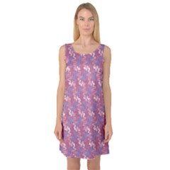 Pattern Abstract Squiggles Gliftex Sleeveless Satin Nightdress