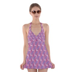 Pattern Abstract Squiggles Gliftex Halter Swimsuit Dress