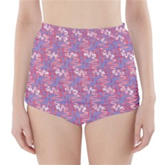 Pattern Abstract Squiggles Gliftex High Waisted Bikini Bottoms