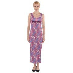 Pattern Abstract Squiggles Gliftex Fitted Maxi Dress