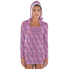 Pattern Abstract Squiggles Gliftex Women s Long Sleeve Hooded T-shirt