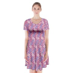 Pattern Abstract Squiggles Gliftex Short Sleeve V-neck Flare Dress