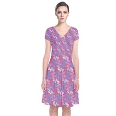 Pattern Abstract Squiggles Gliftex Short Sleeve Front Wrap Dress