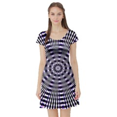 Pattern Stripes Background Short Sleeve Skater Dress