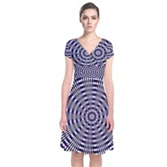 Pattern Stripes Background Short Sleeve Front Wrap Dress