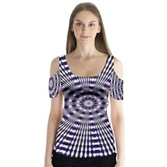 Pattern Stripes Background Butterfly Sleeve Cutout Tee