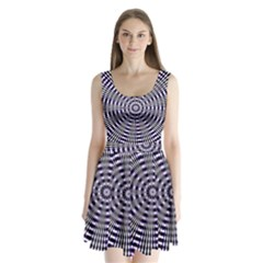 Pattern Stripes Background Split Back Mini Dress