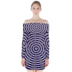 Pattern Stripes Background Long Sleeve Off Shoulder Dress
