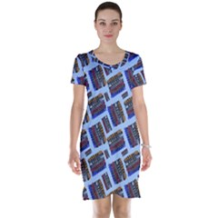Abstract Pattern Seamless Artwork Short Sleeve Nightdress