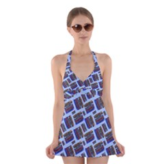 Abstract Pattern Seamless Artwork Halter Swimsuit Dress