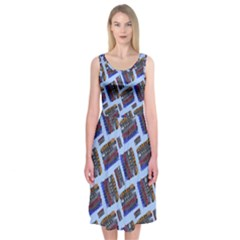 Abstract Pattern Seamless Artwork Midi Sleeveless Dress