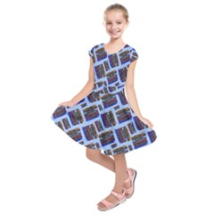 Abstract Pattern Seamless Artwork Kids  Short Sleeve Dress