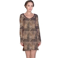 Collage Stone Wall Texture Long Sleeve Nightdress