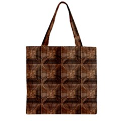 Collage Stone Wall Texture Zipper Grocery Tote Bag
